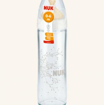 Бутылочка стеклянная NUK New Classic, с латексной соской, 240 мл