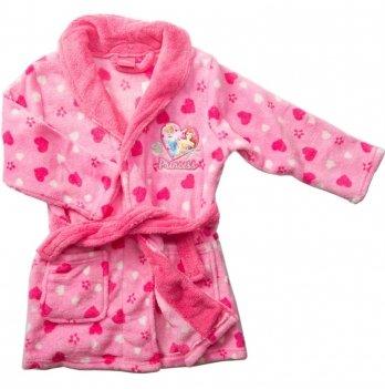 Теплый халат для девочки Disney Sun City Принцессы розовый