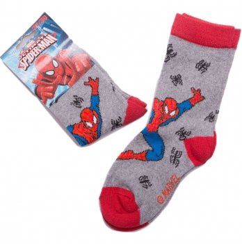 Носки для мальчика, Disney Sun City Человек-паук серые/красные