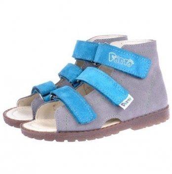 Сандали ортопедические для девочки Mrugala серые с голубым