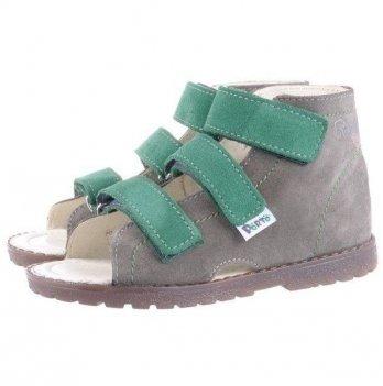 Сандали ортопедические для девочки Mrugala серые  с зеленым