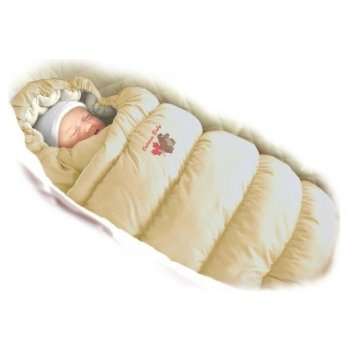 Пуховый конверт Inflated Ontario Baby с меховой подкладкой Зима ART-0000078 бежевый