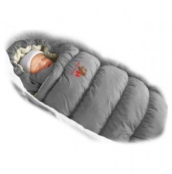 Пуховый конверт Inflated Ontario Baby с меховой подкладкой Зима ART-0000086 серый