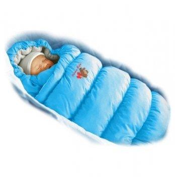 Пуховый конверт Inflated Ontario Baby с меховой подкладкой Зима ART-0000084 васильковый