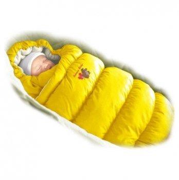 Пуховый конверт Inflated Ontario Baby с меховой подкладкой Зима ART-0000080 желтый