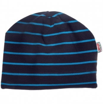 Шапка демисезонная Kivat 351906-07 темно-синяя в тонкие голубые полосы