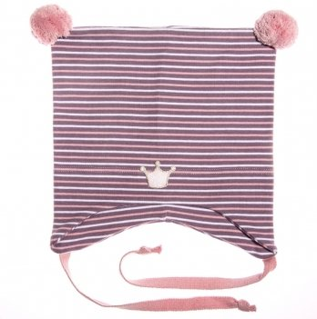 Шапка демисезонная Kivat 351901-05 сиреневая в белые и розовые полосы