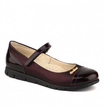 Туфли кожаные для девочки Shagovita 63220_bordo лакированные