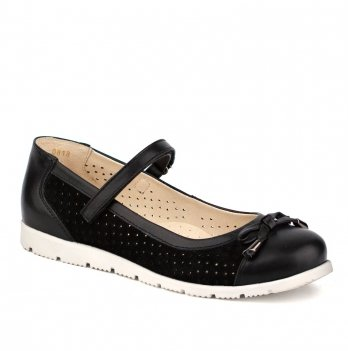 Туфли кожаные для девочки Shagovita 63224_black