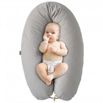 Подушка для беременных и кормления Idea Standart Горох серый с пуговкой