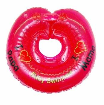 Круг на шею BabySwimmer Я люблю, красный с погремушками для детей 6-36 кг