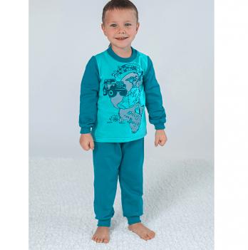Пижама утепленная для мальчика Модный карапуз, изумрудная