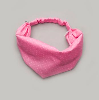 Повязка-косынка для девочек Модный карапуз розовая в горошек