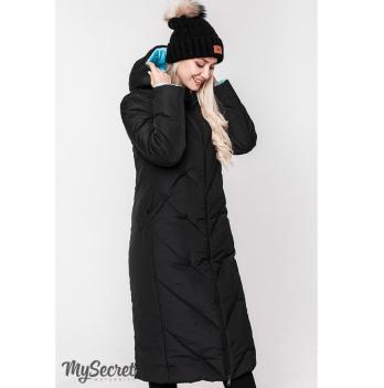 Зимнее двухстороннее пальто для беременных MySecret, черный/аквамарин