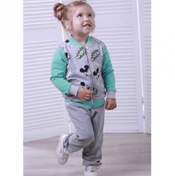 Спортивный костюм для девочки Joiks, возраст от 2 до 7 лет, серый-рисунок