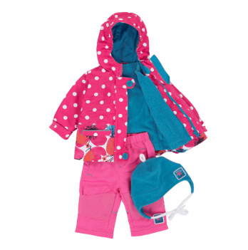 Демисезонный костюм 3 в 1 (куртка, штаны, флисовая кофта) Deux par Deux PF 52 Розовый в горох