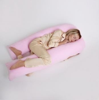 Подушка для беременных модель П Мои Подушки, наволочка велюр розовый