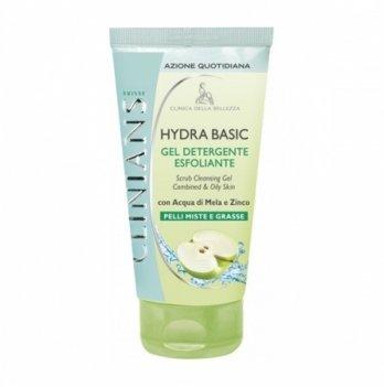 Гель-скраб для лица очищающий для комбинированной и жирной кожи с яблочной водой HYDRA BASIC, Clinians