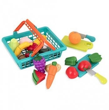 Игровой набор для двоих Battat Lite - Овощи-фрукты на липучках (в корзинке, 37 предметов)