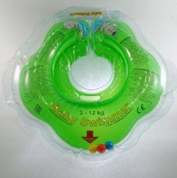Круг BabySwimmer для детей от 0-24 месяцев и 3-12 кг с погремушками салатовый