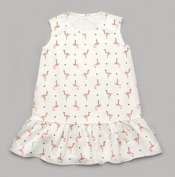 Платье для малышки Модный карапуз Фламинго Белый 3-24 мес