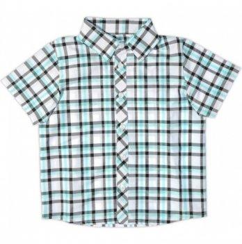 Рубашка для мальчика Garden baby, с коротким рукавом, серо-бирюзовая клетка, 30003-38