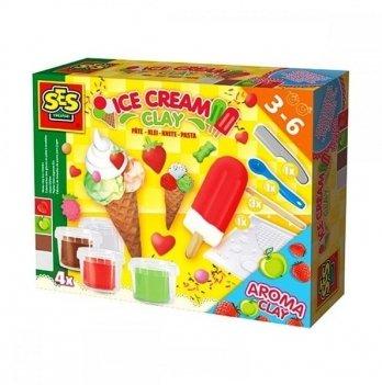 Масса для лепки не засыхающая Ses, Мороженое (4 цвета в пластиковых баночках, инструменты)