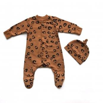 Детская шапка Ripka Пантера на коричневом