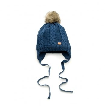 Шапочка зимняя Модный карапуз, с завязками, синяя