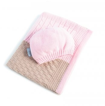 Плед вязаный Малыш+шапочка Idea 8-29910 розовый 70х90 см