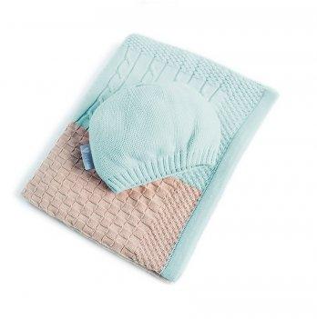 Плед вязаный Малыш+шапочка Idea 8-29910 светло-зеленый 70х90 см