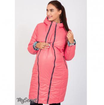 Зимнее двустороннее пальто для беременных, MySecret, коралловый/крупные цветы на синем