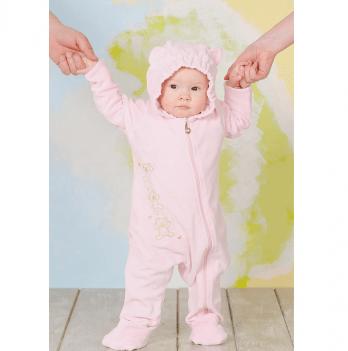 Слингокомбинезон для девочек Модный карапуз My baby, велюровый, розовый