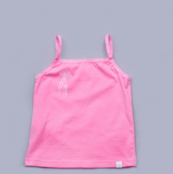Майка для девочки Модный карапуз, с узкими бретельками, розовая