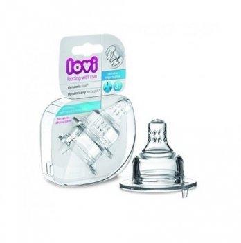Соска для бутылочки Lovi силиконовая, динамическая, трехпозиционная, 2 шт.