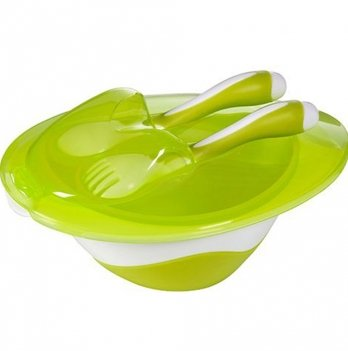 Мисочка с ложкой и вилкой, BabyOno 1064, зеленая