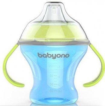 Кружка-непроливайка с мягким носиком, BabyOno Natural Nursing 180 мл, голубая
