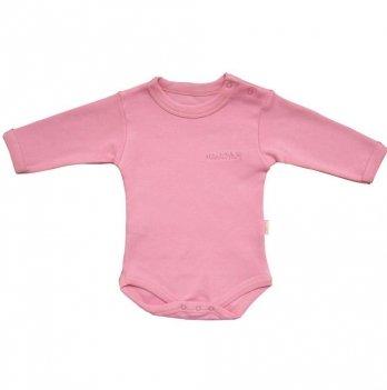 Бодик, BebePan однотонный с длинными рукавами розовый