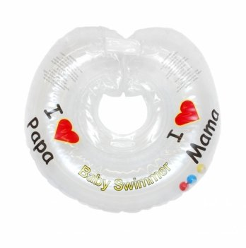 Круг на шею BabySwimmer Я люблю, прозрачный с погремушками для детей 6-36 кг