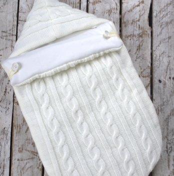 Вязаный конверт-кокон Magbaby шерсть-трикотаж молочный