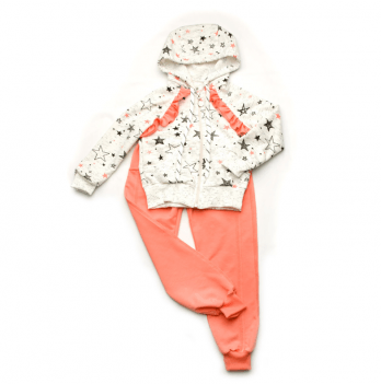 Спортивный костюм для девочки Модный карапуз Звезды, персиковый