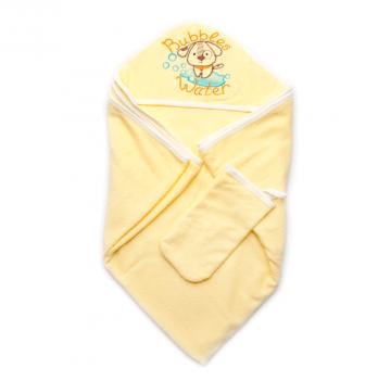 Детское полотенце для купания с рукавичкой Модный карапуз, желтое