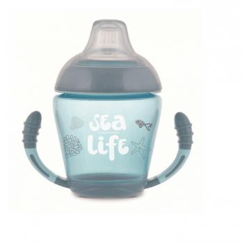 Кружка-непроливайка с мягким силиконовым носиком Canpol babies Sea Life, 230 мл, серая