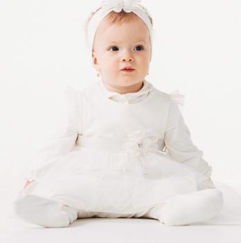 Комплект (комбинезон+туника) для девочки Smil, возраст от 6 до 9 месяцев, молочный