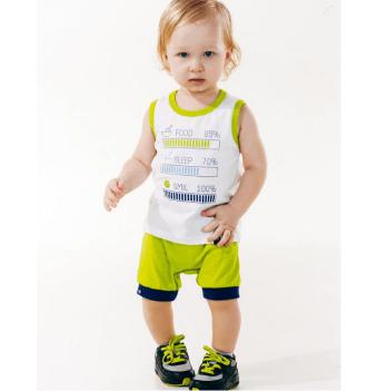 Комплект для мальчика (майка+шорты) Smil возраст от 6 до 18 месяцев белый