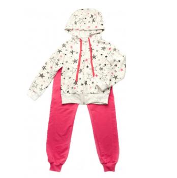 Спортивный костюм для девочки Модный карапуз Звезды, малиновый