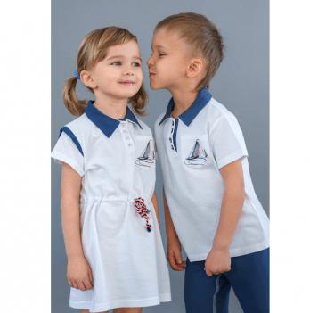 Платье для девочки Модный карапуз, с канатиком, белое