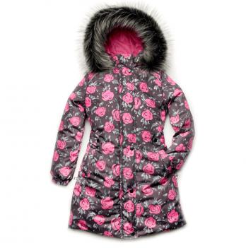 Пальто зимнее для девочки Модный карапуз, принт розы