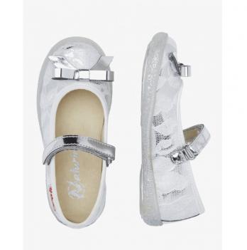 Туфли для девочки Naturino, украшены гипюром, кожа, серебристые