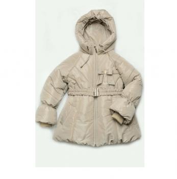 Куртка-пальто зимняя для девочки Модный карапуз, бежевая